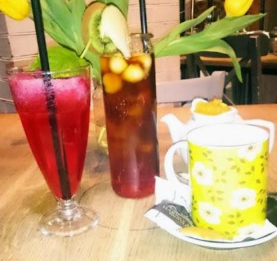 lemoniada malinowa, herbata Zielona Weranda i herbata czarna z arbuzem i melonem Weranda Lunch & Wine