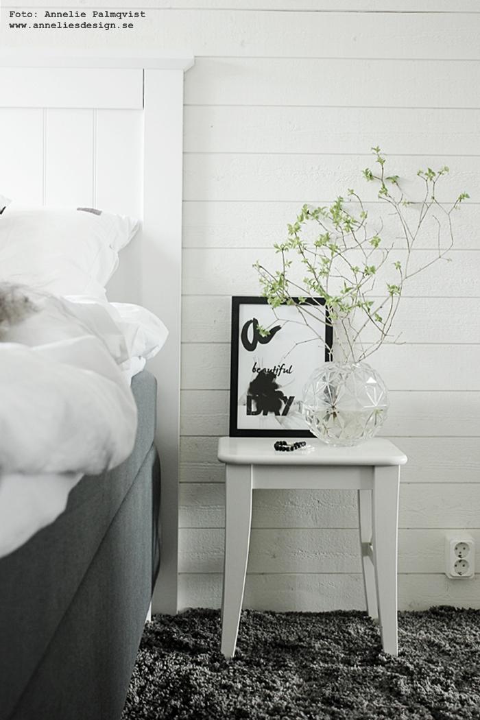 vas, runda vaser, rund, poster, posters, konsttryck, tavla, tavlor, a beautiful day, tavla med text, svart och vitt, svartvit, svartvita, annelies design, webbutik, webbutiker, webshop, inredning, sovrum, sovrummet, tempursäng, tempur, heltäckningsmatta, matta, mattor, grått, liggande panel, panelvägg, vägg,