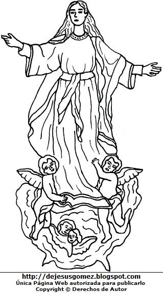Gráfico de la Virgen de la Asunción para colorear. Dibujo de la Virgen de la Asunción hecho por Jesus Gómez