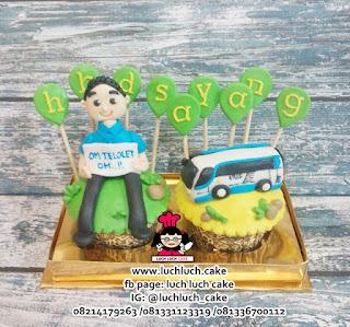 Cupcake Ulang Tahun Tema Mobil dan Bus