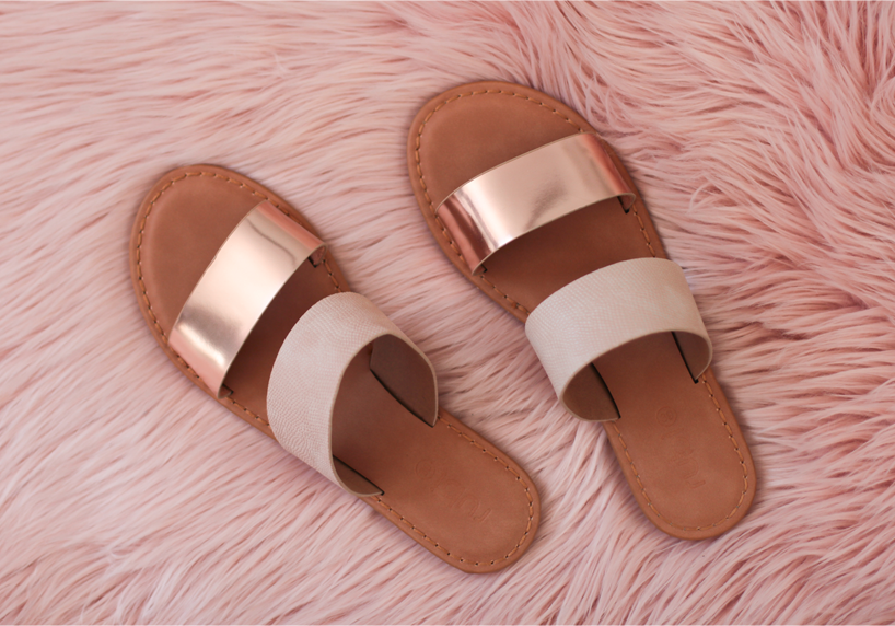 Rubi shoes rose gold sandals slides Kendall style