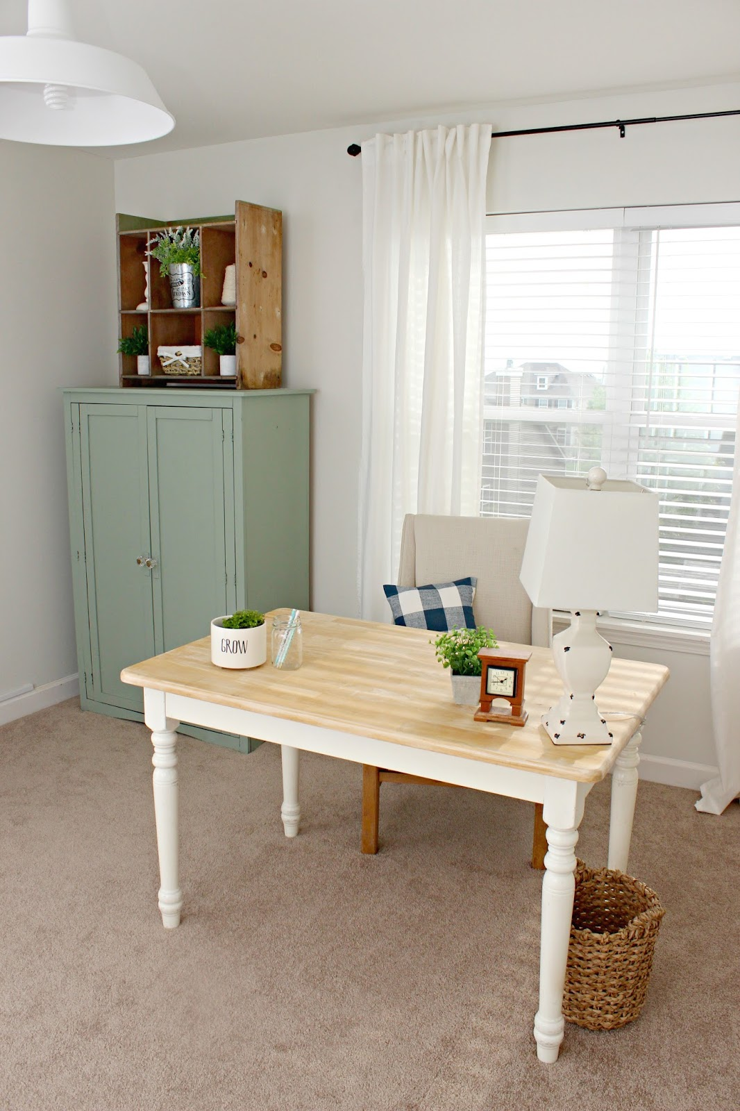 office craft room. Farmhouse Office And Craft Room Makeover. Beautiful Desk, A Closet,