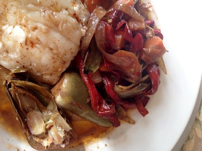 Verduras en escabeche con bacalao