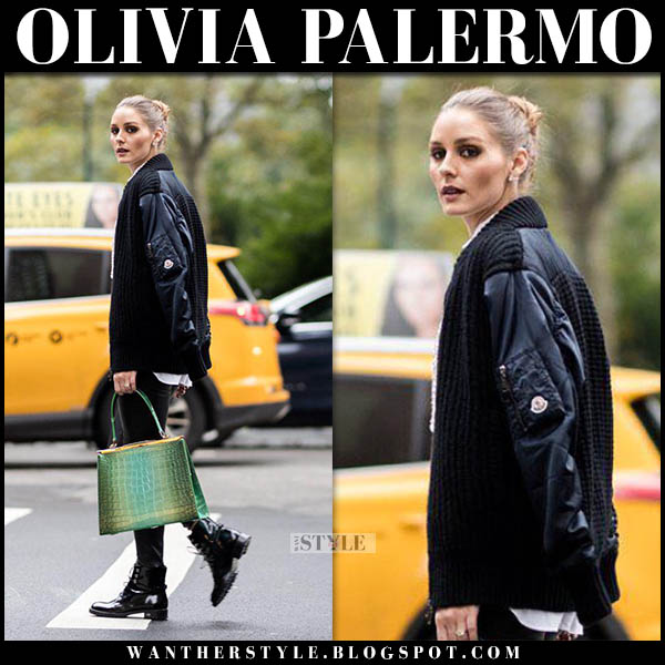 Olivia Palermo in black bomber moncler jacket with green bag and black dior boots winter street style november 16