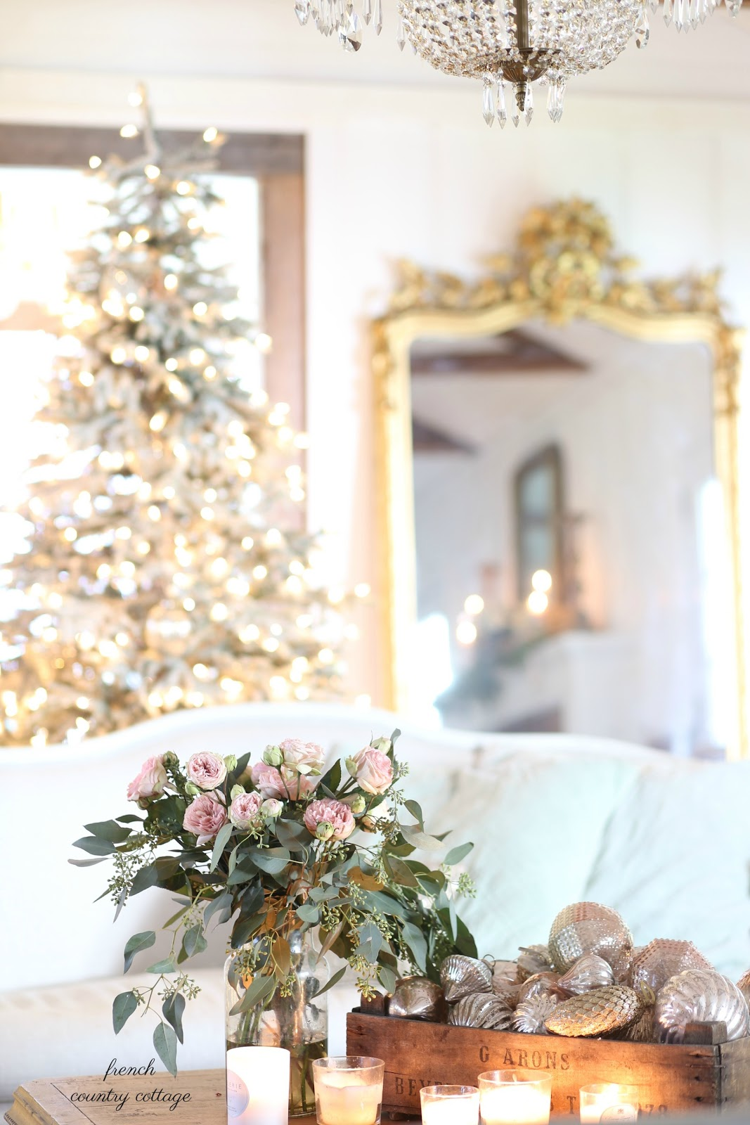 Pale greens and silver gold christmas living room