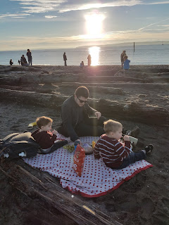winter beach picnic