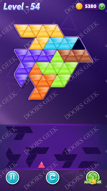 Block! Triangle Puzzle Advanced Level 54 Solution, Cheats, Walkthrough for Android, iPhone, iPad and iPod