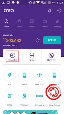 Setelah di halaman depan aplikasi OVO, silakan kalian klik transfer