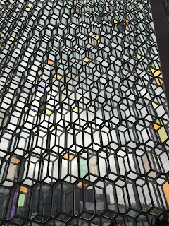 View of Harpa's glass wall from inside