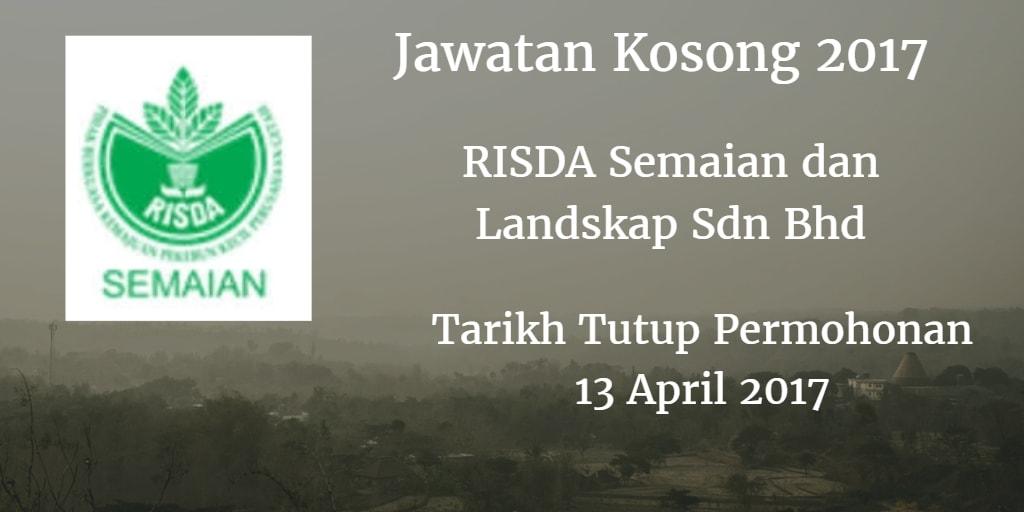 Jawatan Kosong RISDA Semaian dan Landskap Sdn Bhd 13 April 2017