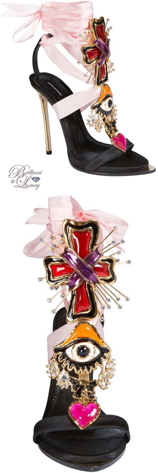 Brilliant Luxuruy ♦ Dsquared2 Lace-up Embellished Satin Sandals