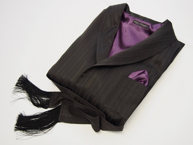 Mens classic black cotton robe purple silk lining victorian dressing gown tassels lounging housecoat luxury robes.