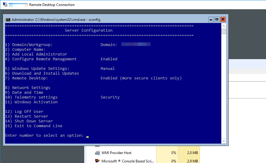 Manage Windows Server 2016 core