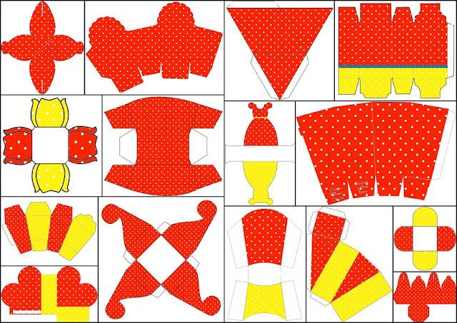 Rojo, Amarillo y Lunares Blancos: Cajas para Imprimir Gratis.