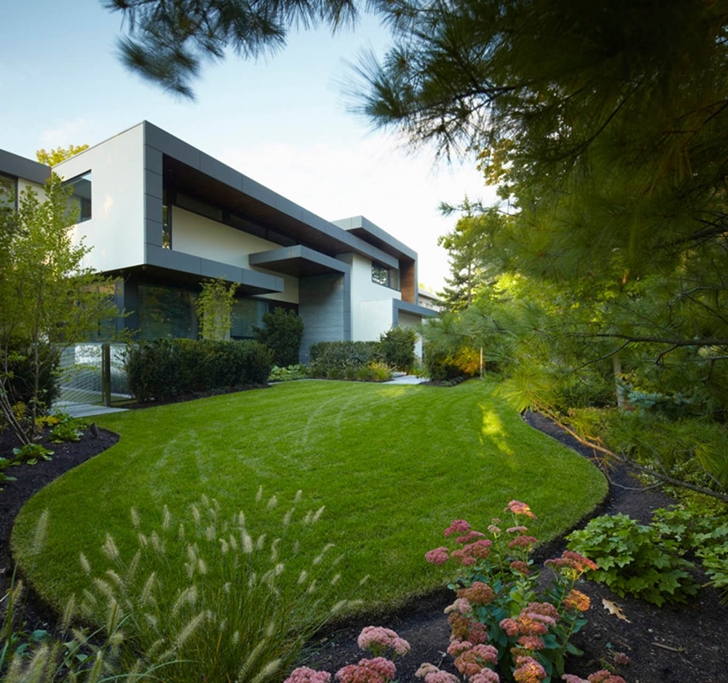 Grass in the backyard of Modern mansion by Belzberg Architects Group