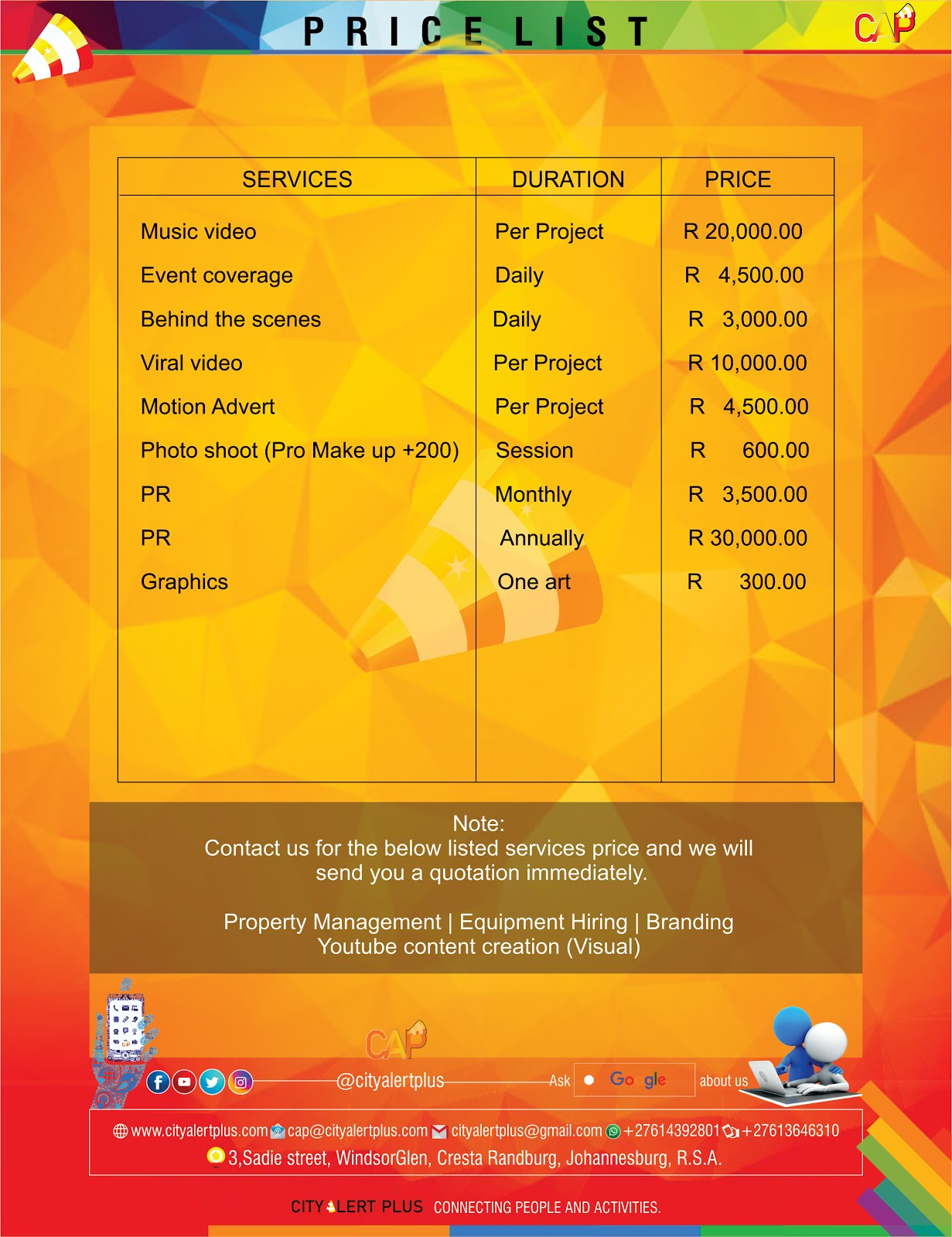 CAP - Price List