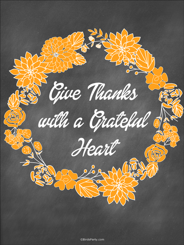 Thanksgiving | Free Give Thanks Printable Art - BirdsParty.com