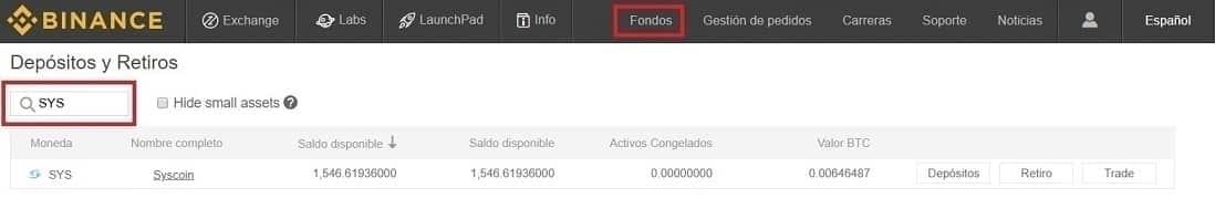 Saldo Actualizado Syscoin (SYS) Binance y mandar a Billetera Oficial