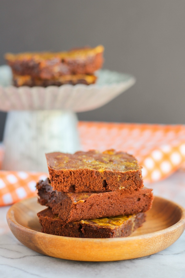 These thick, fudgey brownies with a rich and creamy pumpkin swirl are one of the BEST brownies ever!