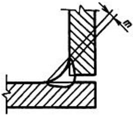 Вогнутость, определяемая расстоянием между плоскостью, проходящей через видимые линии границы углового шва с основным металлом и поверхностью шва, измеренным в месте наибольшей вогнутости