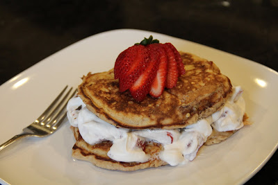 Strawberry Shortcake Pancakes - enjoy dessert for breakfast with fluffy pancakes, whipped cream and strawberries! Made for 1 and actually pretty good for you!