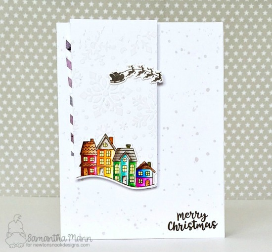Christmas Village Card by Samantha Mann | Snow Globe Scenes Stamp Set by Newton's Nook Designs #newtonsnook