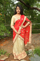 Akshara in Red Saree Golden Choli at LV Movie Makers Production No 1 Movie Opening ~  Exclusive 074.JPG