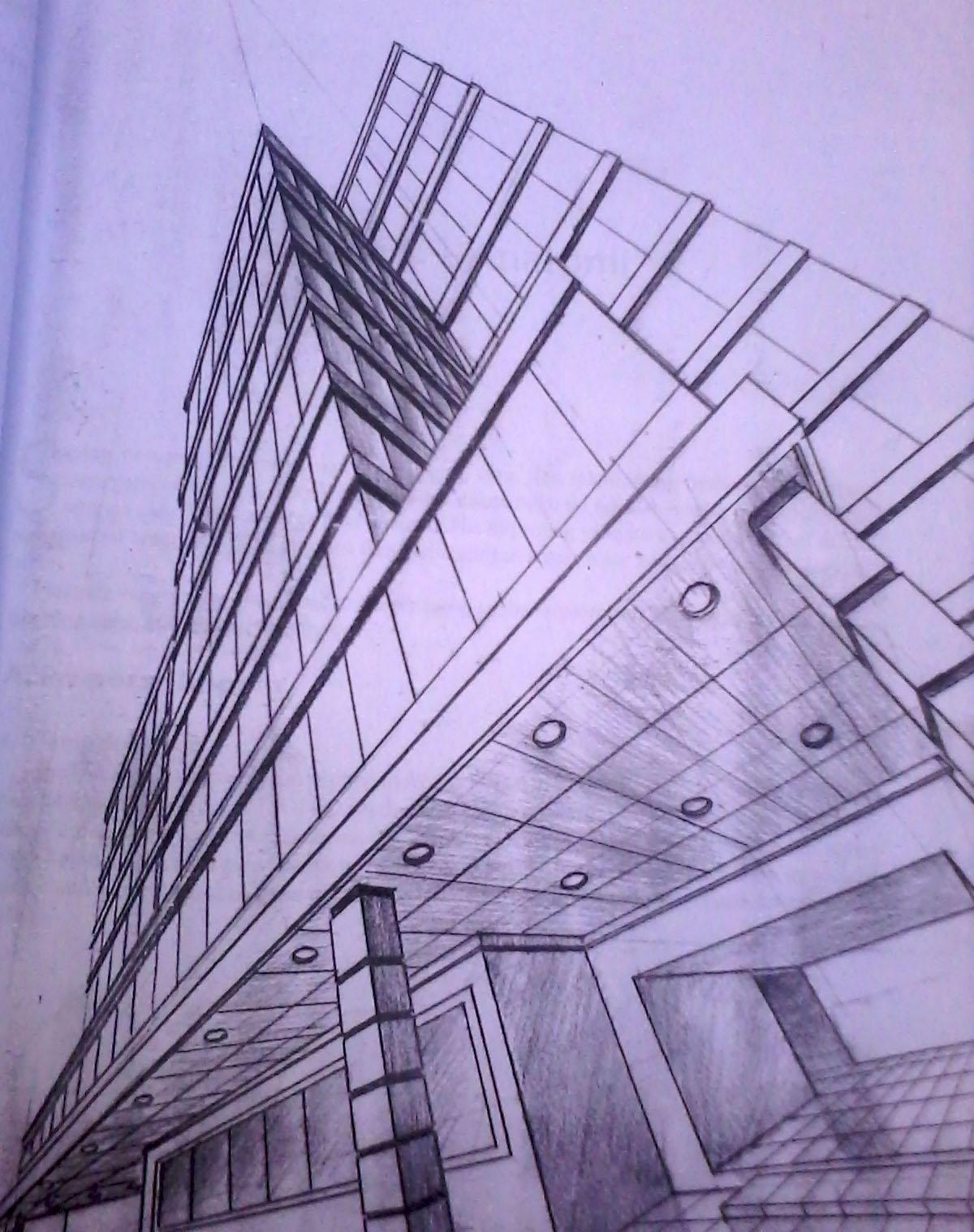 Download Contoh Gambar Sketsa Bangunan 3 Titik