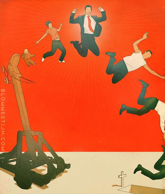 illustratie voor de Leidsche Univrsiteit Magazine: Leidraad