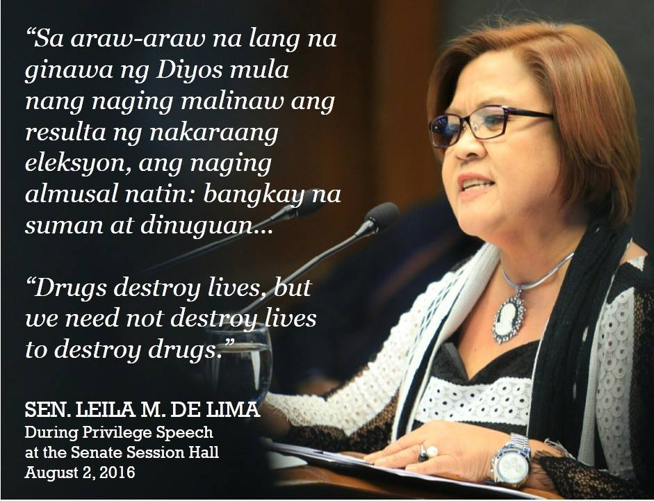 Sen. De Lima to Duterte administration