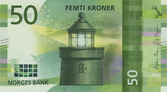 Norwegian currency 50 Krone banknote 2018 Utvær Lighthouse