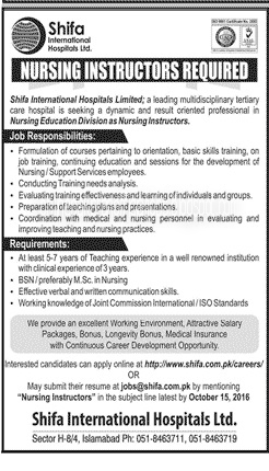 Nursing Jobs in Shifa International Hospital Islamabad