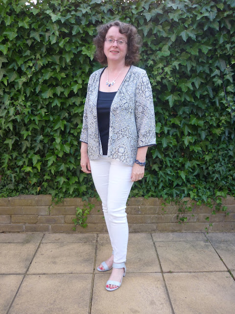 Blue Kimono, White Jeans, Blue Sandals