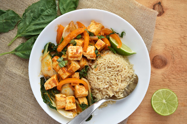 Thai Red Curry Tofu & Bok Choy Stew - #vegan and #glutenfree - Get a healthy dinner on the table in under 30 minutes with the help of Saffron Road's all natural simmer sauce.