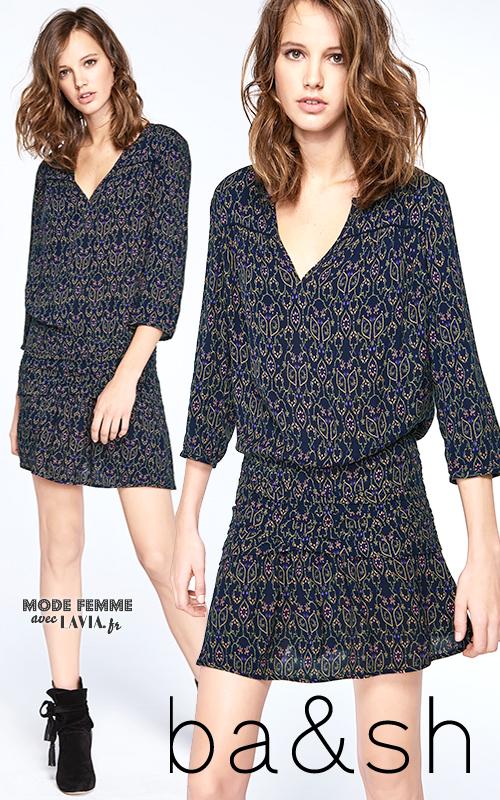 Robe courte bleue imprimée fluide jupe trapèze BA&SH