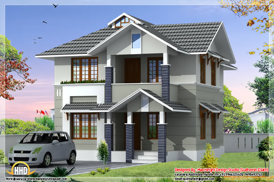 1610 square feet, 3 bhk Kerala style home design