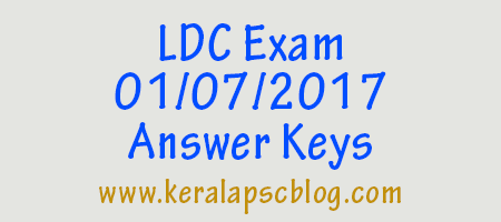 Lower Division Clerk [LDC] Exam 01-07-2017 Answer Keys