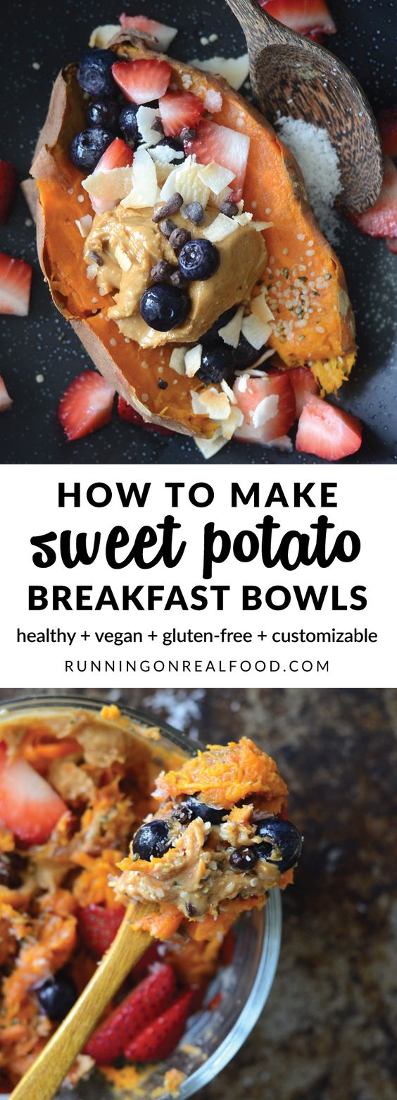 Peanut Butter Berry Sweet Potato Breakfast Bowls