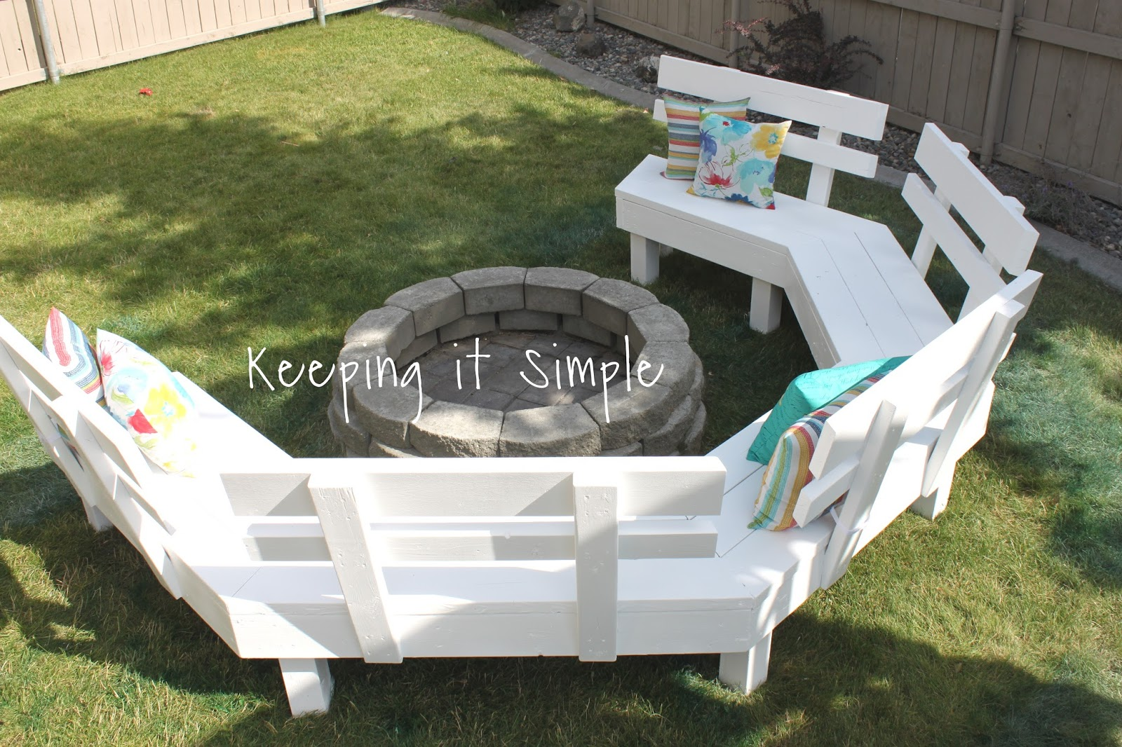 Keeping it Simple DIY Fire Pit Sofa Bench with Step by