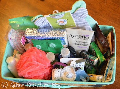 Items in hospital survival kit for new moms.