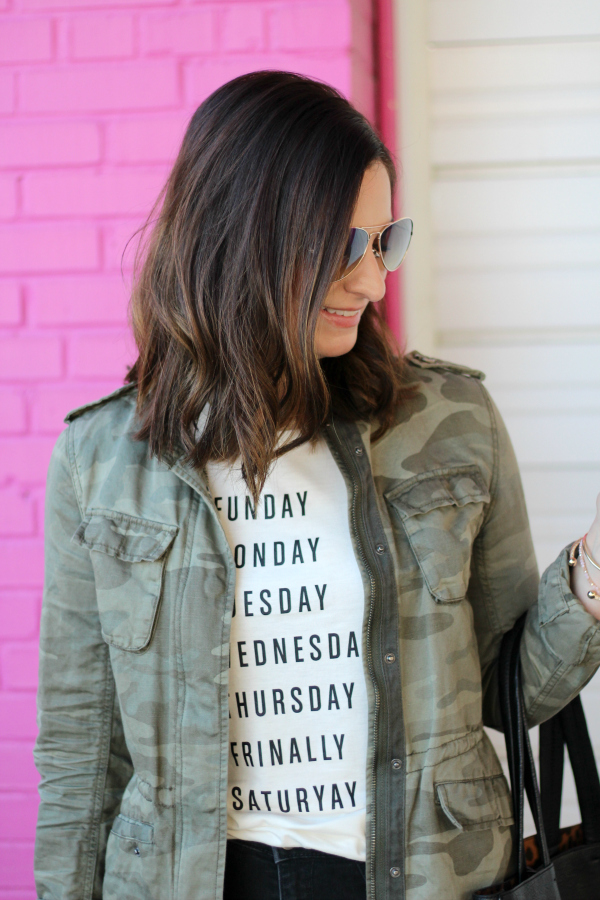 style on a budget, how to style a graphic tee, camo jacket, leopard ankle boots, mom style, north carolina blogger