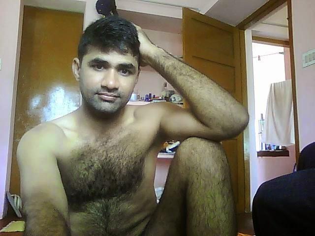 Naked hairy man playing nipples 13