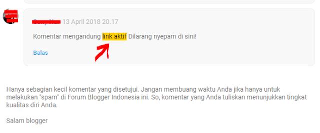 Contoh Hasil Cara Menonaktifkan Link Aktif Komentar di Blog Hasilnya SEO Friendly