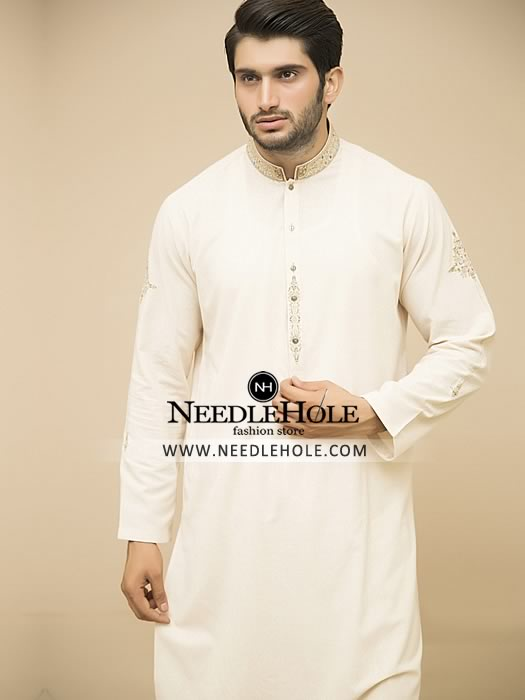 Fascinating pakistani kurta shalwar design for men in off-white ...