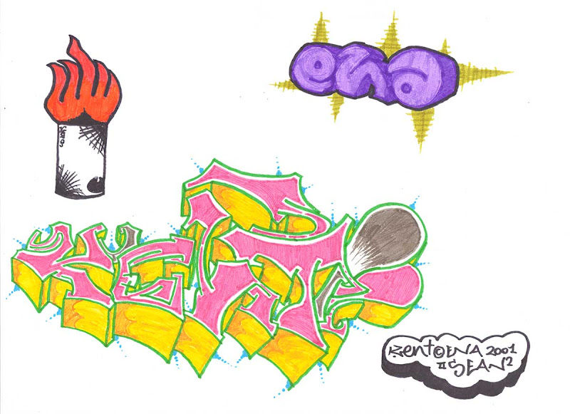 Kent letters, wild style. Colored with pink and yellow markers. With a Purple ENA at the top right and a Spray on Fire at the top left. Original naive, vintage graffiti sketch on copy paper by Kostas Gogas (akney), signed as Kent from his first Folder, 2001. ENA graffiti crew.
