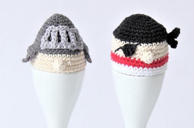 Crochet, eierdop, eiermuts, Gehaakt, Gratis patronen, gratis patroon, haken, Pasen, piraat, ridder, Studio Mojo,