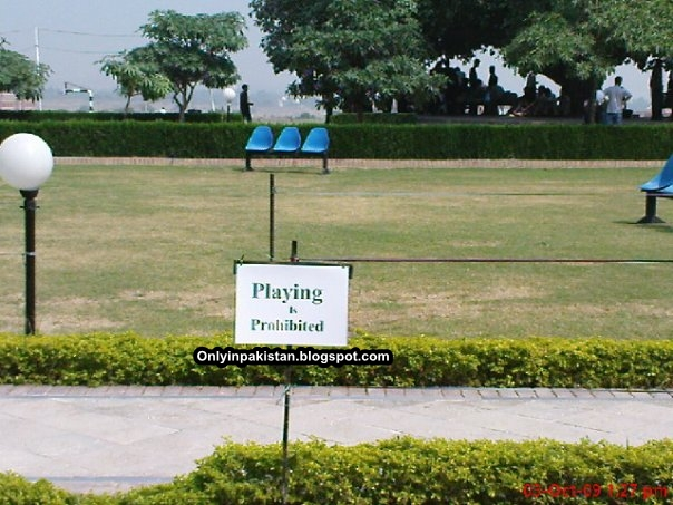 Funny Pakistani playground administration warning