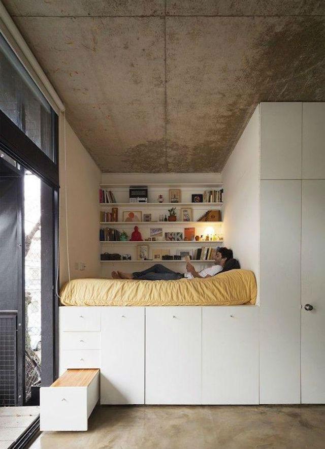 Trucos para decorar dormitorios de adolescentes, cama en alto  modular con capacidad de almacenaje