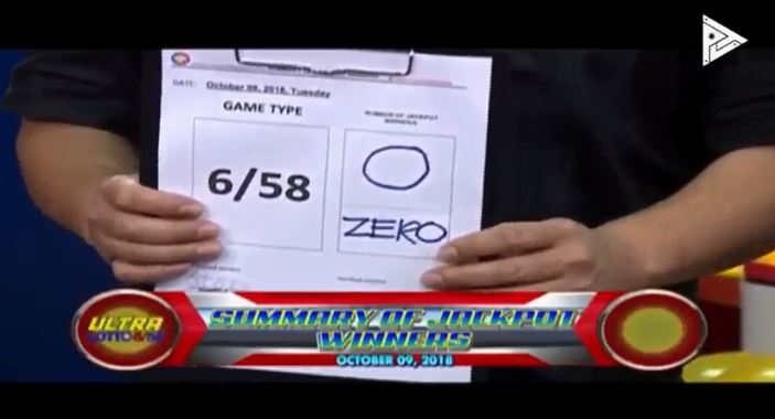 Summary of jackpot winner/s PCSO Ultra Lotto Results October 9, 2018.