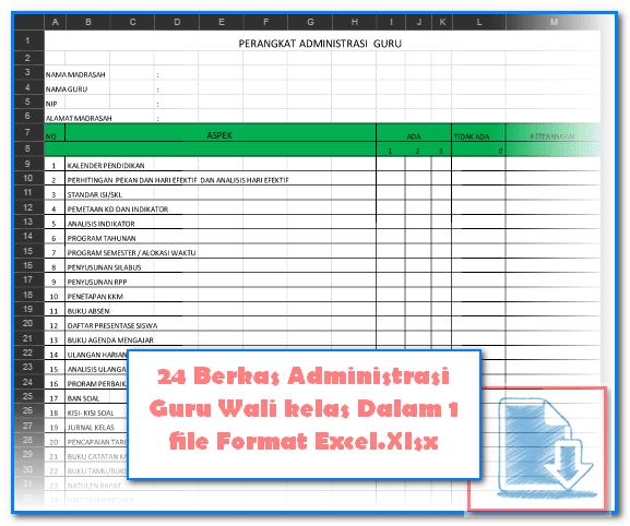 24 Berkas Administrasi Guru Wali kelas Dalam 1 file Format Excel.Xlsx
